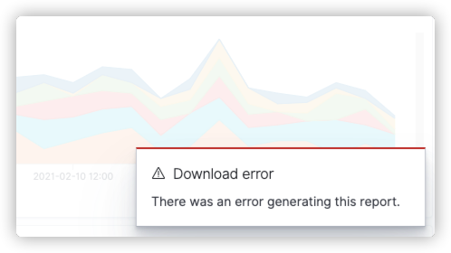 OpenSearch Dashboards reporting pop-up error message