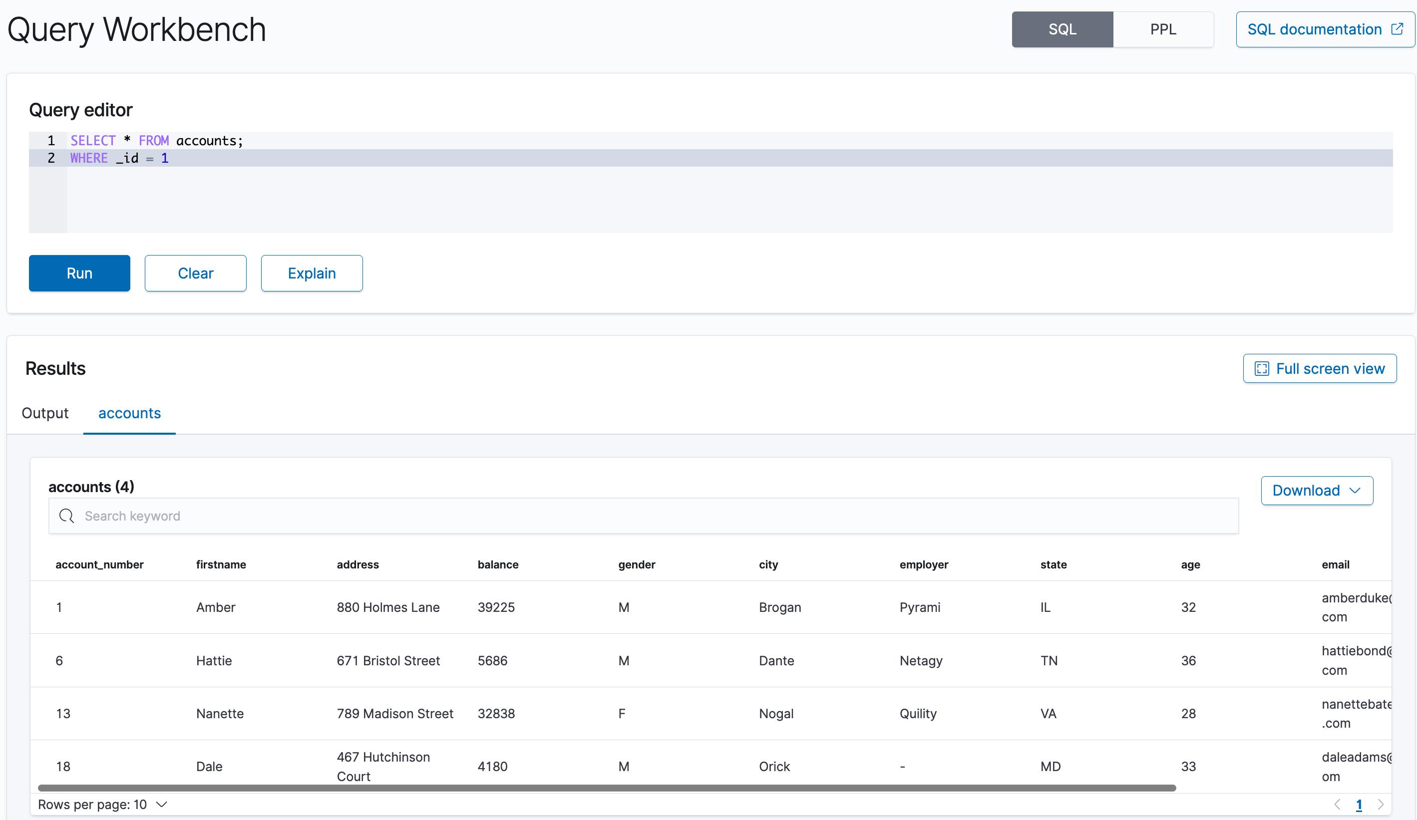 OpenSearch Dashboards SQL UI plugin